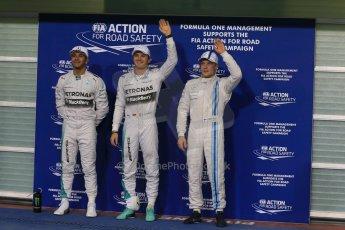Mercedes AMG Petronas - Lewis Hamilton and Nico Rosberg and Williams Racing - Valtteri Bottas. Digital Ref : 1166LB1D1577