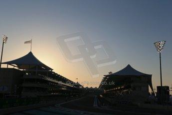 World © Octane Photographic Ltd. Saturday 22nd November 2014. Abu Dhabi Grand Prix - Yas Marina Circuit - Formula 1 Qualifying. 1st corner at Sunset Digital Ref: 1166LB1D6018