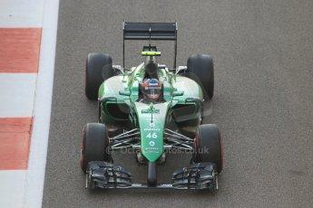 World © Octane Photographic Ltd. Sunday 23rd November 2014. Abu Dhabi Grand Prix - Yas Marina Circuit - Formula 1 Race. Caterham F1 Team CT05 – William Stevens on his out lap from the pits. Digital Ref: