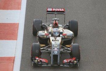 World © Octane Photographic Ltd. Sunday 23rd November 2014. Abu Dhabi Grand Prix - Yas Marina Circuit - Formula 1 Race. Lotus F1 Team E22 – Romain Grosjean on his out lap from the pits. Digital Ref: