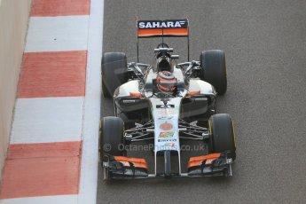World © Octane Photographic Ltd. Sunday 23rd November 2014. Abu Dhabi Grand Prix - Yas Marina Circuit - Formula 1 Race. Sahara Force India VJM07 – Nico Hulkenburg on his out lap from the pits. Digital Ref :
