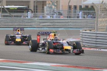 World © Octane Photographic Ltd. Sunday 23rd November 2014. Abu Dhabi Grand Prix - Yas Marina Circuit - Formula 1 Race. Infiniti Red Bull Racing RB10 – Daniel Ricciardo and Sebastian Vettel. Digital Ref: