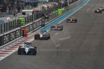World © Octane Photographic Ltd. Sunday 23rd November 2014. Abu Dhabi Grand Prix - Yas Marina Circuit - Formula 1 Race. Williams Racing FW36 – Felipe Massa, McLaren Mercedes MP4/29 - Jenson Button, Scuderia Ferrari F14T – Kimi Raikkonen and Fernando Alonso. Digital Ref: