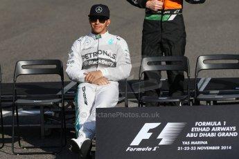 World © Octane Photographic Ltd. Sunday 23rd November 2014. Abu Dhabi Grand Prix - Yas Marina Circuit - End of season Formula 1 Drivers line up, Lewis Hamilton. Digital Ref: