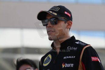 World © Octane Photographic Ltd. Sunday 23rd November 2014. Abu Dhabi Grand Prix - Yas Marina Circuit - Formula 1 Drivers Parade. Lotus F1 Team - Pastor Maldonado. Digital Ref: