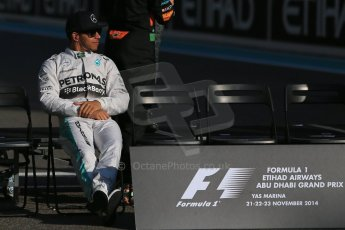 World © Octane Photographic Ltd. Sunday 23rd November 2014. Abu Dhabi Grand Prix - Yas Marina Circuit - End of season Formula 1 Drivers line up, Lewis Hamilton. Digital Ref: