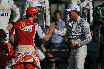 World © Octane Photographic Ltd. Sunday 23rd November 2014. Abu Dhabi Grand Prix - Yas Marina Circuit - End of season Formula 1 Drivers line up, Fernando Alonso and Nico Rosberg. Digital Ref: