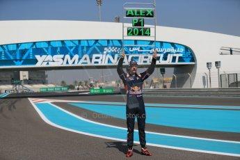 World © Octane Photographic Ltd. Sunday 23rd November 2014. Abu Dhabi Grand Prix - GP2 and GP3 champions photo shoot. Alex Lynn - Carlin - GP3 Champion. Digital Ref: 1168CB1D6352