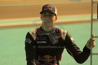 World © Octane Photographic Ltd. Sunday 23rd November 2014. Abu Dhabi Grand Prix - GP2 and GP3 champions photo shoot. Alex Lynn - Carlin - GP3 Champion. Digital Ref: 1168CB1D6402