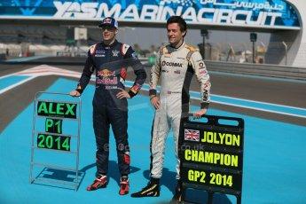 World © Octane Photographic Ltd. Sunday 23rd November 2014. Abu Dhabi Grand Prix - GP2 and GP3 champions photo shoot. Alex Lynn - Carlin - GP3 Champion and Jolyon Palmer - DAMS - GP2 Champion. Digital Ref: 1168CB1D6432