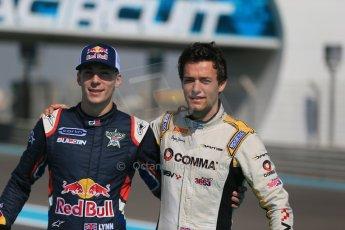 World © Octane Photographic Ltd. Sunday 23rd November 2014. Abu Dhabi Grand Prix - GP2 and GP3 champions photo shoot. Alex Lynn - Carlin - GP3 Champion and Jolyon Palmer - DAMS - GP2 Champion. Digital Ref: 1168CB1D6451