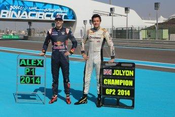 World © Octane Photographic Ltd. Sunday 23rd November 2014. Abu Dhabi Grand Prix - GP2 and GP3 champions photo shoot. Alex Lynn - Carlin - GP3 Champion and Jolyon Palmer - DAMS - GP2 Champion. Digital Ref: 1168CB1D9057