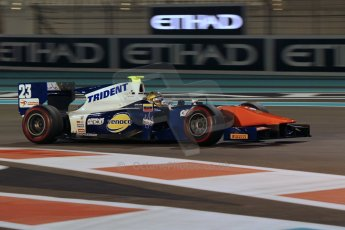 World © Octane Photographic Ltd. 2014 Formula 1 Abu Dhabi Grand Prix, GP2 Qualifying, Friday 21st November 2014. Johnny Cecotto - Trident. Digital Ref : 1162CB1D7482