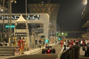 World © Octane Photographic Ltd. 2014 Formula 1 Abu Dhabi Grand Prix, GP2 Qualifying, Friday 21st November 2014. Pitlane at night. Digital Ref : 1162CB1D7594