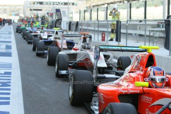 World © Octane Photographic Ltd. 2014 Formula 1 Abu Dhabi Grand Prix, GP3 Race 1, Saturday 22nd November 2014. Lining up for the track to go live. Digital Ref : 1164CB1D7691