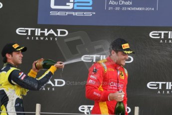 World © Octane Photographic Ltd. Sunday 23rd November 2014. GP2 Race 2 Podium – Abu Dhabi GP - Yas Marina Circuit, United Arab Emirates. Stefano Coletti - Racing Engineering and Felipe Nasr - Carlin. Digital Ref :1170CB7D9207