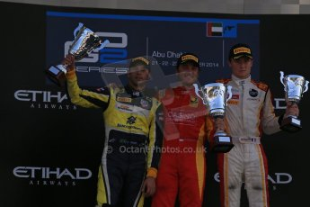 World © Octane Photographic Ltd. Sunday 23rd November 2014. GP2 Race 2 Podium – Abu Dhabi GP - Yas Marina Circuit, United Arab Emirates. Stefano Coletti - Racing Engineering, Felipe Nasr - Carlin and Arthur Pic - Campos Racing. Digital Ref :1170LB1D7127