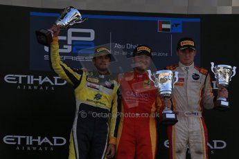 World © Octane Photographic Ltd. Sunday 23rd November 2014. GP2 Race 2 Podium – Abu Dhabi GP - Yas Marina Circuit, United Arab Emirates. Stefano Coletti - Racing Engineering, Felipe Nasr - Carlin and Arthur Pic - Campos Racing. Digital Ref :1170LB1D7131