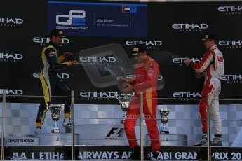 World © Octane Photographic Ltd. Sunday 23rd November 2014. GP2 Race 2 Podium – Abu Dhabi GP - Yas Marina Circuit, United Arab Emirates. Stefano Coletti - Racing Engineering, Felipe Nasr - Carlin and Arthur Pic - Campos Racing. Digital Ref :1170LB1D7147