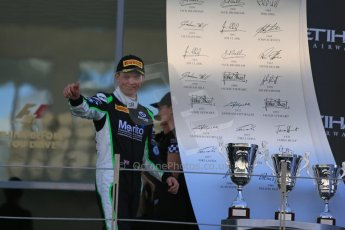 World © Octane Photographic Ltd. Sunday 23rd November 2014. GP3 Race 2 – Abu Dhabi GP Podium - Yas Marina Circuit, United Arab Emirates. Nick Yelloly – Status Grand Prix. Digital Ref :1169LB1D6768
