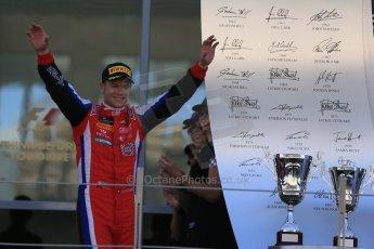 World © Octane Photographic Ltd. Sunday 23rd November 2014. GP3 Race 2 – Abu Dhabi GP Podium - Yas Marina Circuit, United Arab Emirates. Patric Neiderhauser - Arden International. Digital Ref :1169LB1D6775