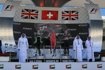World © Octane Photographic Ltd. Sunday 23rd November 2014. GP3 Race 2 – Abu Dhabi GP Podium - Yas Marina Circuit, United Arab Emirates. Patric Neiderhauser - Arden International, Nick Yelloly – Status Grand Prix and Alex Lynn – Carlin. Digital Ref :1169LB1D6793