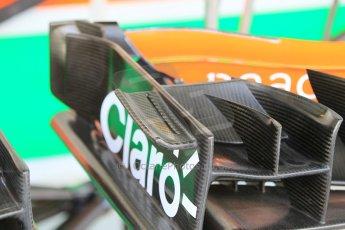 World © Octane Photographic Ltd. Tuesday 25th November 2014. Abu Dhabi Testing - Yas Marina Circuit. Sahara Force India VJM07 wing detail – Jolyon Palmer. Digital Ref : 1174CB1D8305