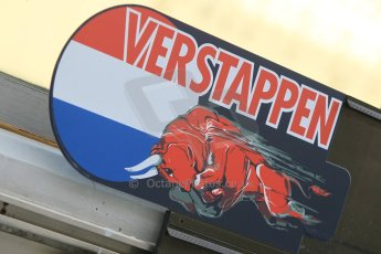 World © Octane Photographic Ltd. Wednesday 26th November 2014. Abu Dhabi Testing - Yas Marina Circuit. Scuderia Toro Rosso STR 9 – Max Verstappen pit board. Digital Ref: 1175CB1D8683
