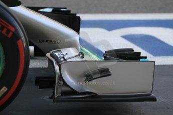World © Octane Photographic Ltd. Wednesday 26th November 2014. Abu Dhabi Testing - Yas Marina Circuit. Mercedes AMG Petronas F1 W05 Hybrid front wing end plate. Digital Ref: 1175CB1D9552