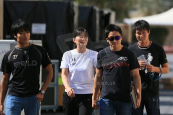 World © Octane Photographic Ltd. Wednesday 26th November 2014. Abu Dhabi Testing - Yas Marina Circuit. McLaren Honda – Honda visitors and Takuya Izawa - GP3 ART GP driver . Digital Ref: 1175LB1D9076