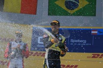 World © Octane Photographic Ltd. Saturday 21st June 2014. GP2 Race 1 – Red Bull Ring, Spielberg - Austria. Felipe Nasr - Carlin, Stoffel Vandoorne - ART Grand Prix. Digital Ref : 0997LB1D3664