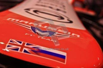 World © Octane Photographic Ltd. Autosport International Show NEC Birmingham, Thursday 9th January 2014. Marussia F1 nose.  Digital ref: 0878cj7d0040