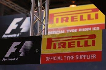 World © Octane Photographic Ltd. Autosport International Show NEC Birmingham, Thursday 9th January 2014. Pirelli Logo. Digital ref: 0878lb1d8989