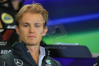 World © Octane Photographic Ltd. Thursday 21st August 2014. Belgian GP, Spa-Francorchamps Formula 1 FIA Press Conference. Mercedes AMG Petronas - Nico Rosberg. Digital Ref: 1078LB1D6156