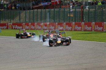World © Octane Photographic Ltd. Sunday 24th August 2014, Belgian GP, Spa-Francorchamps. Formula 1 Race. Infiniti Red Bull Racing RB10 - Sebastian Vettel. Digital Ref: 1090LB1D1838