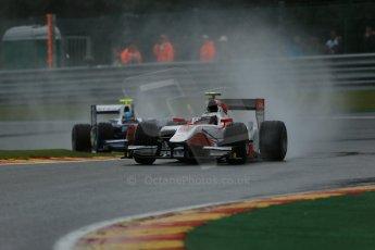World © Octane Photographic Ltd. Friday Saturday 23rd August 2014. GP2 Race 1 – Belgian GP, Spa-Francorchamps. Stoffel Vandoorne - ART Grand Prix and Johnny Cecotto - Trident. Digital Ref : 1086LB1D0334