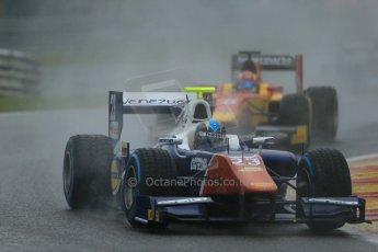 World © Octane Photographic Ltd. Friday Saturday 23rd August 2014. GP2 Race 1 – Belgian GP, Spa-Francorchamps. Johnny Cecotto - Trident and Raffaele Marciello - Racing Engineering. Digital Ref : 1086LB1D0346