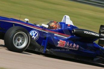 World © Octane Photographic Ltd. Cooper Tyres British Formula 3 (F3). Rockingham - Qualifying, Sunday 4th May 2014. Dallara F310 Volkswagen - Peter Li Zhi Cong - Carlin. Digital Ref : 0920lb1d1817
