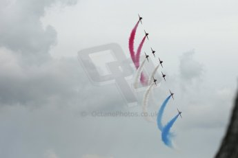 World © Octane Photographic Ltd. Saturday 5th July 2014. British GP, Silverstone, UK. - Formula 1 Paddock. Royal Air Force Red Arrows. Digital Ref: 1025LB1D0310