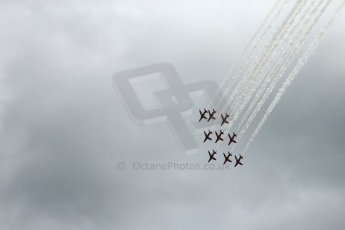 World © Octane Photographic Ltd. Saturday 5th July 2014. British GP, Silverstone, UK. - Formula 1 Paddock. Royal Air Force Red Arrows. Digital Ref: 1025LB1D0317