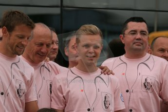 World © Octane Photographic Ltd. Saturday 5th July 2014. British GP, Silverstone, UK. - Formula 1 Paddock. Jenson Button, Kevin magnussen, Ron Dennis, Eric Boullier and the McLaren team in their #Pinkforpapa shirts. Digital Ref: 1025LB1D0625