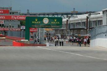 World © Octane Photographic Ltd. Friday 6th June 2014. Canada - Circuit Gilles Villeneuve, Montreal. Formula 1 Practice 2. Pit exit. Digital Ref: 0979LB1D3578