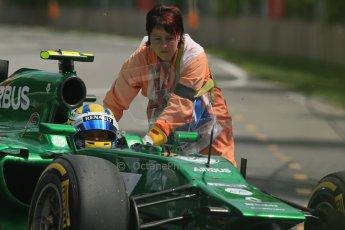 World © Octane Photographic Ltd. Friday 6th June 2014. Canada - Circuit Gilles Villeneuve, Montreal. Formula 1 Practice 2. Caterham F1 Team CT05 – Marcus Ericsson pulls off at turn 3. Digital Ref: 0979LB1D4425