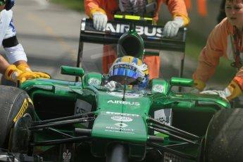 World © Octane Photographic Ltd. Friday 6th June 2014. Canada - Circuit Gilles Villeneuve, Montreal. Formula 1 Practice 2. Caterham F1 Team CT05 – Marcus Ericsson pulls off at turn 3. Digital Ref: 0979LB1D4432