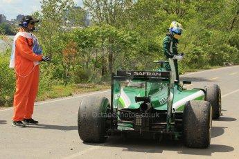 World © Octane Photographic Ltd. Friday 6th June 2014. Canada - Circuit Gilles Villeneuve, Montreal. Formula 1 Practice 2. Caterham F1 Team CT05 – Marcus Ericsson pulls off at turn 3. Digital Ref: 0979LB1D9476