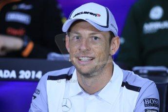 World © Octane Photographic Ltd. Formula 1 Canada – Circuit Gilles Villeneuve, Montreal. Thursday 5th June 2014. Drivers' press conference. McLaren Mercedes - Jenson Button. Digital Ref : 0977LB1D1032