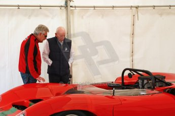 World © Octane Photographic Ltd. Donington Historic Festival, May 4th 2014. John Surtees OBE with his Lola Can Am car. Digital Ref : 0918cb1d2785