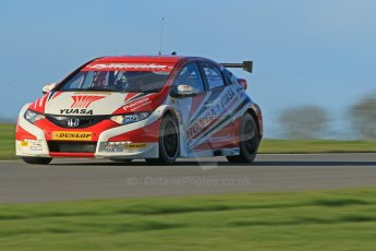 "World © Octane Photographic Ltd. Donington Park general unsilenced test day, 13th February 2014. Honda Yuasa British Touring Car Championship (BTCC) 2013 specification Honda Civic Tyre R (K20) - Gordon ""Flash"" Shedden. Digital Ref : 0891cb1d4016"