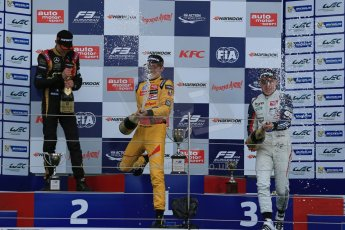 World © Octane Photographic Ltd. FIA European F3 Championship, Silverstone, UK, April 19th 2014 - Race 1 podium. 1st - Jagonya Ayam with Carlin, Tom Blomqvist. 2nd  - Prema Powerteam - Esteban Ocon. 3rd Carlin - Jordan King. Digital  Digital Ref : 0909lb1d7072