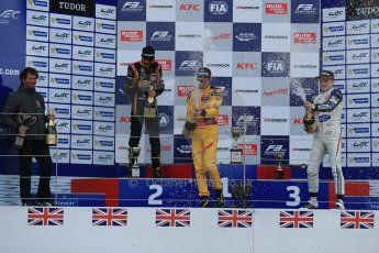 World © Octane Photographic Ltd. FIA European F3 Championship, Silverstone, UK, April 19th 2014 - Race 1 podium. 1st - Jagonya Ayam with Carlin, Tom Blomqvist. 2nd  - Prema Powerteam - Esteban Ocon. Digital  Digital Ref : 0909lb1d7077